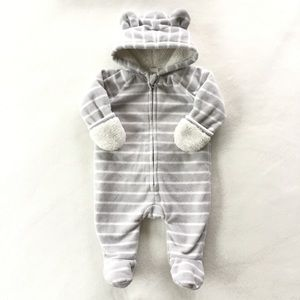 Grey striped fleece suit with ears for baby